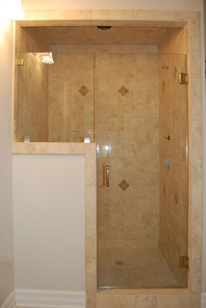 Frameless shower enclosure with glass clamps, done in Chester, NJ