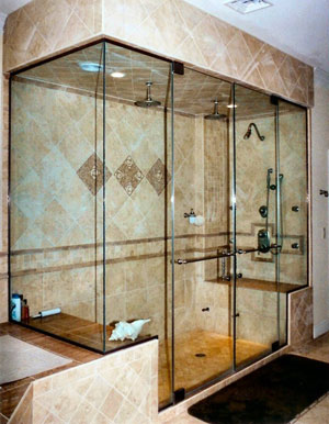 "Frameless corner steam shower using Portals ""Symphony"" handles, done in Hope, NJ"