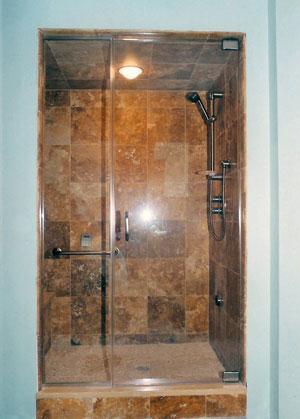 Frameless steam shower using Starfire glass, Far Hills, NJ