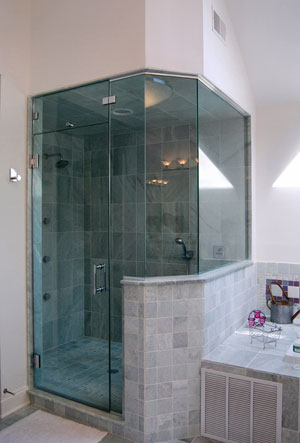 Half-inch frameless steam shower in Warren, NJ