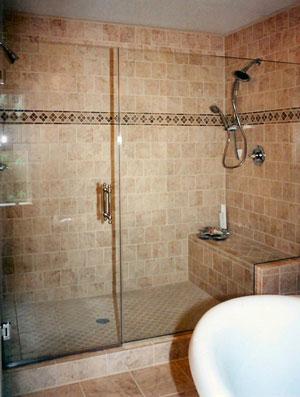 Frameless shower enclosure, using Starphire glass