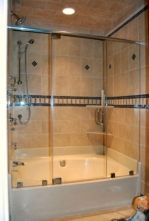 Panel-door-panel on tub with clamps